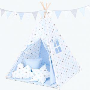Tipi šotor bel in svetlo moder s sivimi in svetlo modrimi zvezdicami