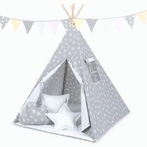 Tipi šotor bel in siv s pikastimi zvezdicami