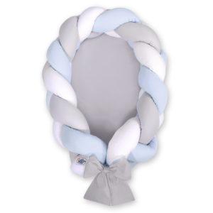 Gnezdece 2v1 z obrobo kitko – bela, svetlo siva, baby modra