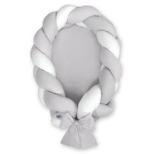 Gnezdece 2v1 z obrobo kitko – bela, svetlo siva