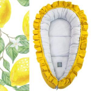 XL gnezdece z volančki – rumena s sivo notranjostjo