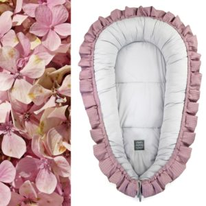 XL gnezdece z volančki – vijolično roza s sivo notranjostjo