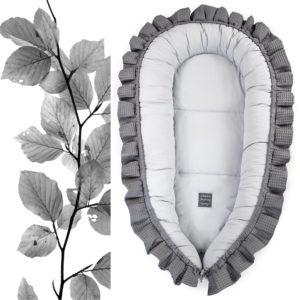 XL gnezdece z volančki – antracit s svetlo sivo notranjostjo