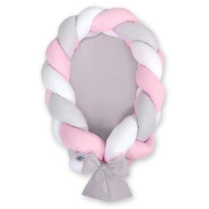 Gnezdece 2v1 z obrobo kitko – bela, svetlo siva, pink