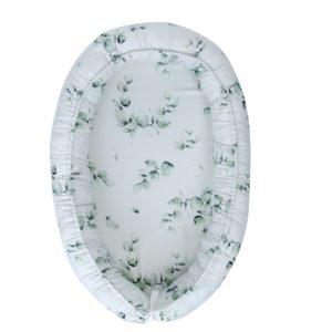 Gnezdece 3v1 z materinsko blazino in iz 100% bambusa – eukaliptus